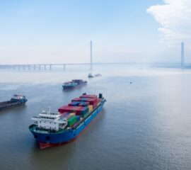 container ships on yangtze river , water transport concept